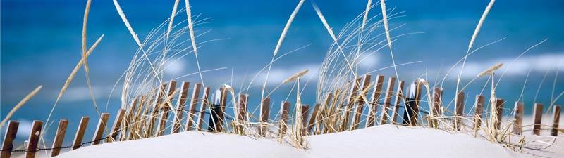 Stilelement: Strand im Sommer. Düne mit Brandung im Hintergrund. Blauer Himmel.